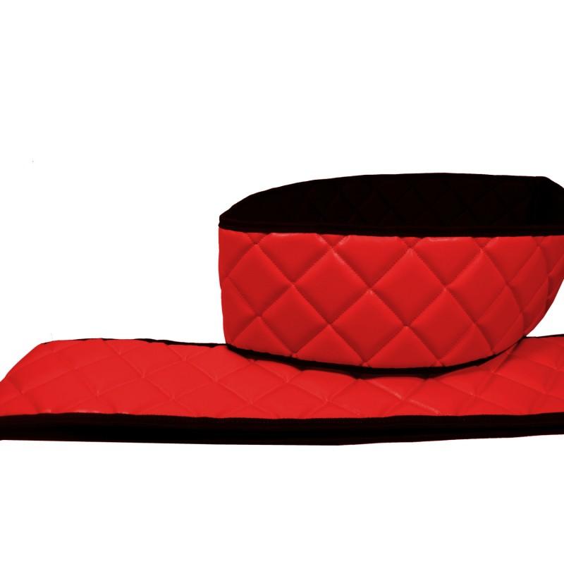 Sitzsockelverkleidung Kunstleder Rot passend für Scania R ab 2004 beide Sitze Luftgefedert