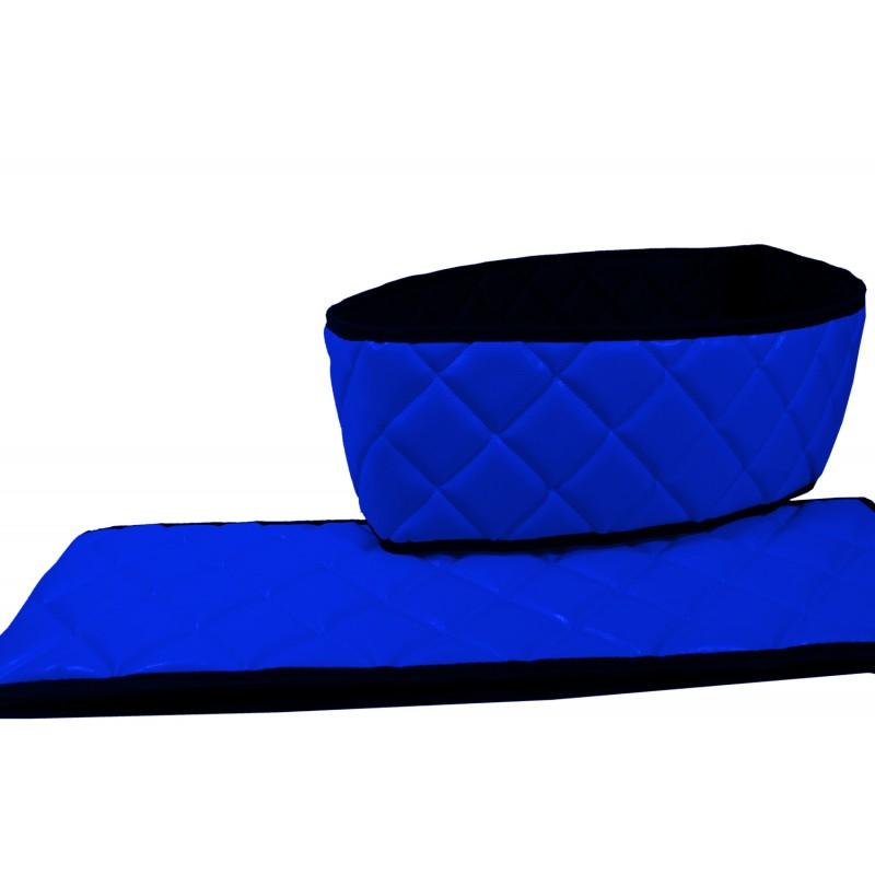 Sitzsockelverkleidung Kunstleder Blau passend für Scania R mit klappbarem Beifahrersitz