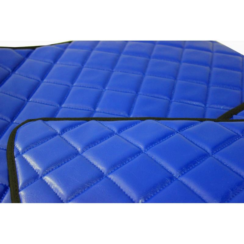 Fußmatten + Tunnelabdeckung aus Kunstleder in Blau passend für DAF 105 XF 2006 - 2012 Automatik Getriebe