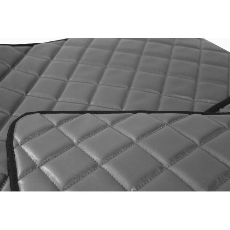 Fußmatten + Tunnelabdeckung aus Kunstleder in Grau passend für DAF 105 XF 2006 - 2012 Automatik Getriebe