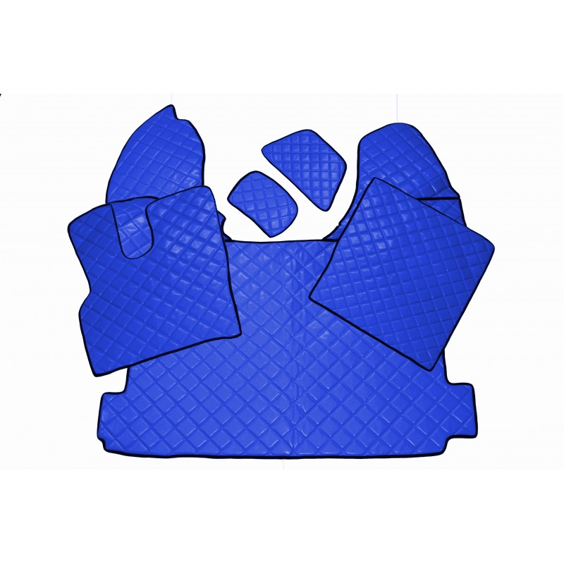 Fußmatten + Tunnelabdeckung aus Kunstleder in Blau passend für DAF XF 106 ab 2013 Automatik Getriebe