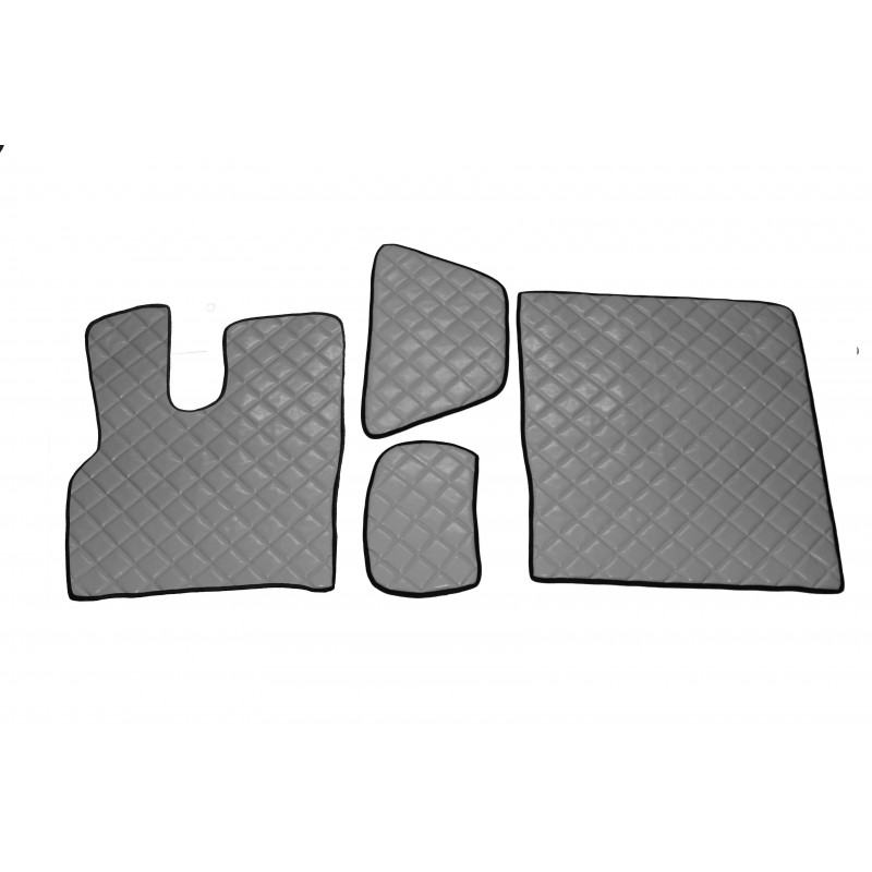 Fußmatten + Tunnelabdeckung aus Kunstleder in Grau passend für DAF XF 106 ab 2013 Automatik Getriebe
