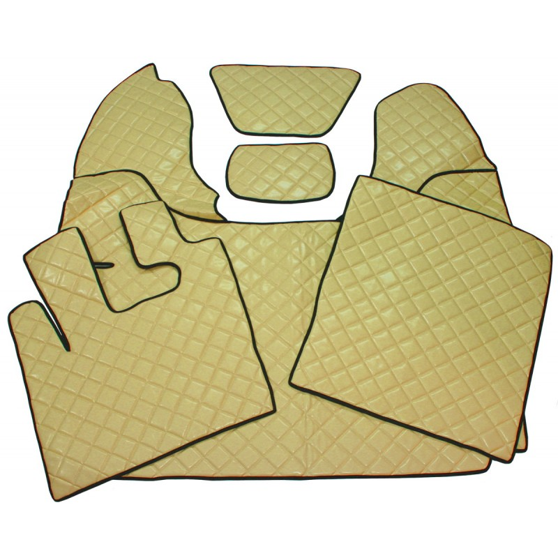 Fußmatten + Tunnelabdeckung aus Kunstleder in Beige passend für DAF 105 XF ab 2012 Automatik Getriebe
