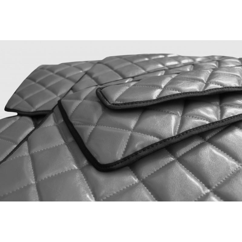 Fußmatten + Tunnelabdeckung aus Kunstleder in Grau passend für MAN TGX 2007 - 2018 Automatik Getribe