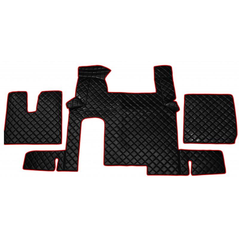 Fußmatten + Tunnelabdeckung aus Kunstleder in Schwarz-Rot passend für MAN TGX 2007 - 2018 Automatik Getriebe