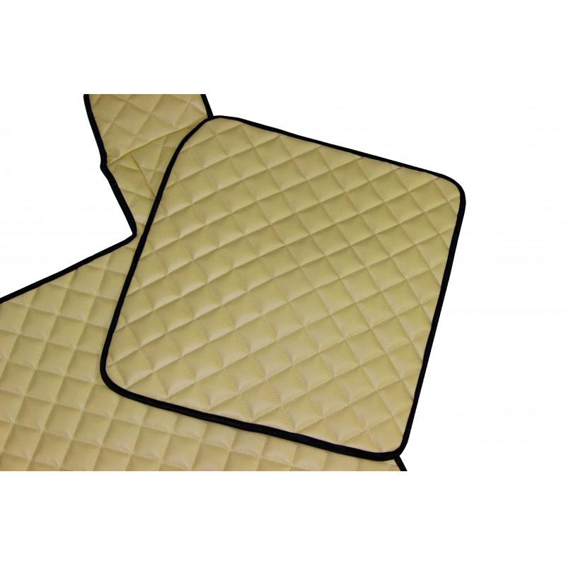 Fußmatten + Tunnelabdeckung aus Kunstleder in Beige MAT passend für MAN TGX  2007 - 2018 Automatik Getriebe
