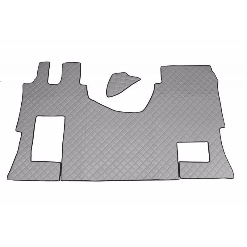 Fußmatten + Tunnelabdeckung aus Kunstleder in Grau passend für Mercedes Actros MP4 2011 - 2018 Automatik Getriebe