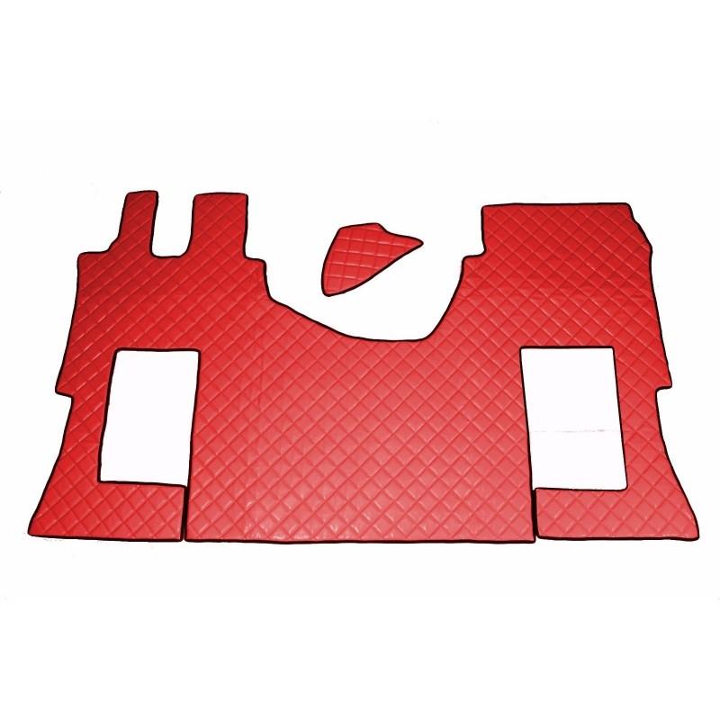 Fußmatten + Tunnelabdeckung aus Kunstleder in Rot passend für Mercedes Actros MP4 2011 - 2018 Automatik Getriebe