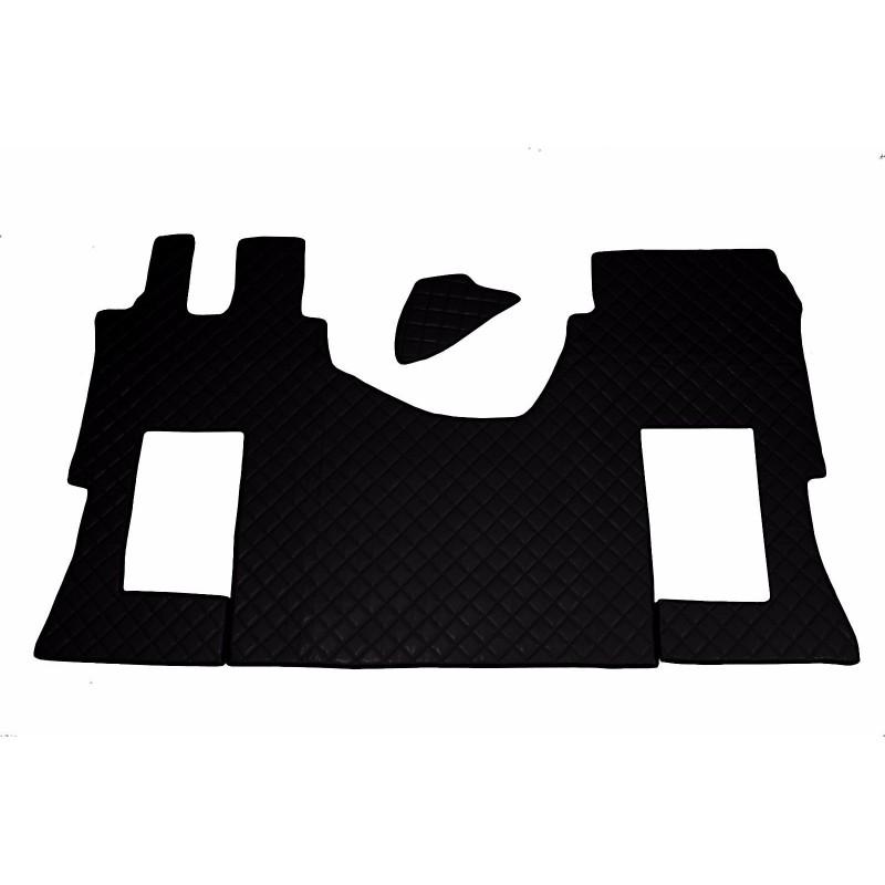 Fußmatten + Tunnelabdeckung aus Kunstleder in Schwarz passend für Mercedes Actros MP4 2011 - 2018 Automatik Getriebe