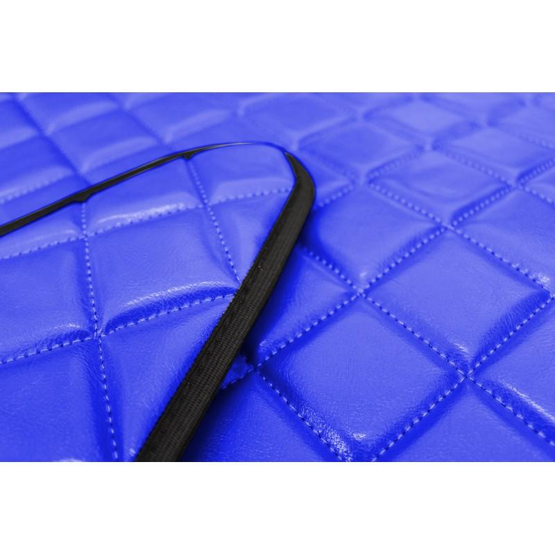 Fußmatten + Tunnelabdeckung aus Kunstleder in Blau passend für Mercedes Actros MP4 2011 - 2018 Automatik Getriebe Schmales Fahrerhaus