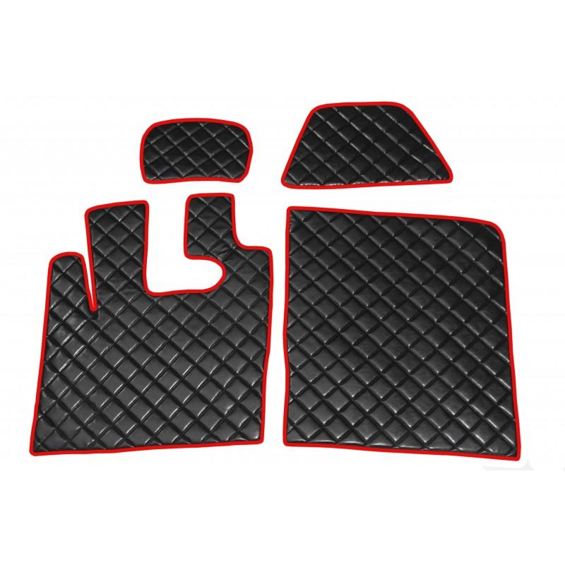 Fußmatten + Tunnelabdeckung aus Kunstleder in Schwarz-Rot passend für DAF XF 105 ab 2012 Automatik Getriebe