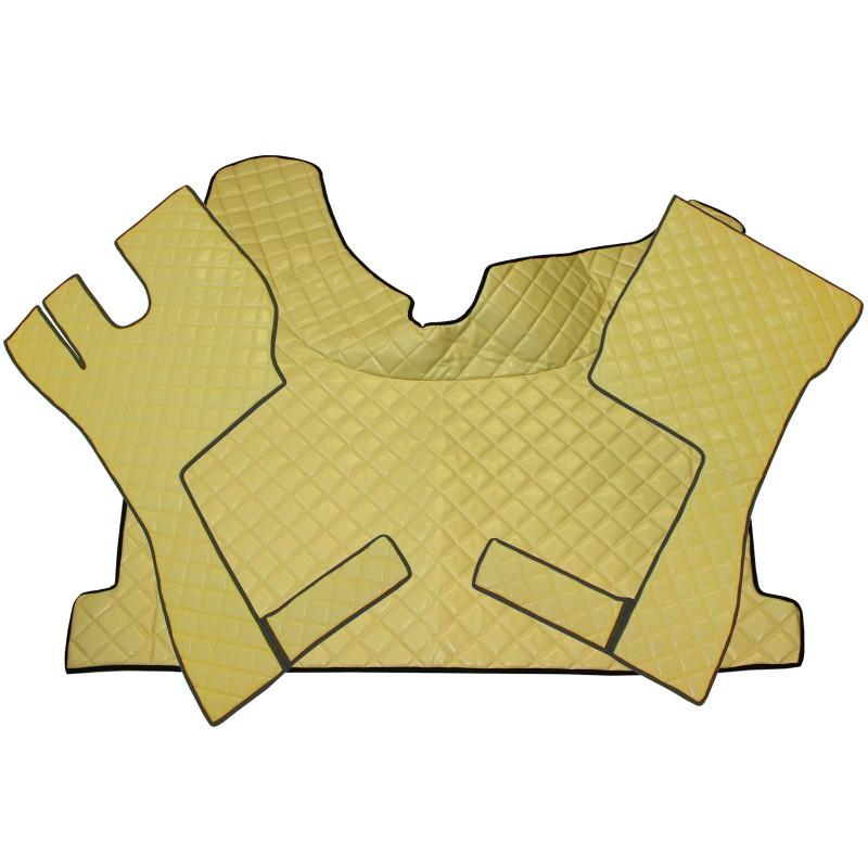 Fußmatten + Tunnelabdeckung aus Kunstleder in Beige passend für Volvo FH ab 2013 Automatik Getriebe