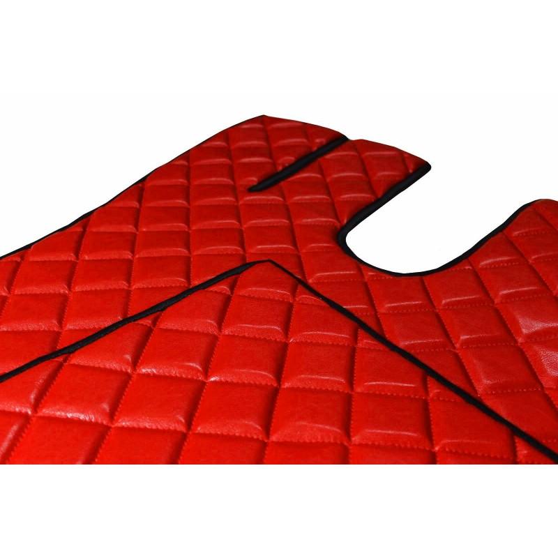 Fußmatten + Tunnelabdeckung aus Kunstleder in Rot passend für Volvo FH ab 2013 Automatik Getriebe