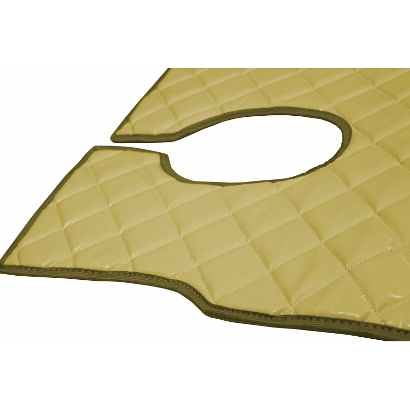 Fußmatten + Tunnelabdeckung aus Kunstleder in Beige passend für Mercedes Actros MP2 ab 2004 / MP3 ab 2008 Automatik Getriebe