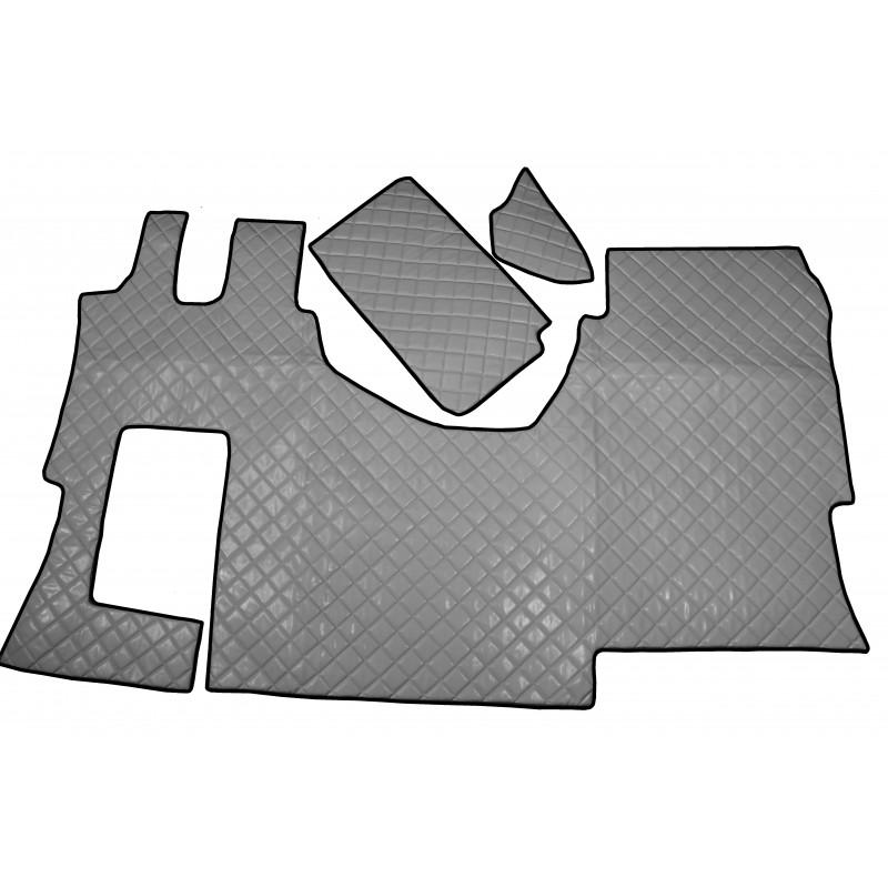 Fußmatten + Tunnelabdeckung aus Kunstleder in Grau passend für Mercedes Actros MP4 2011 - 2018 Automatik Getriebe Solo Star