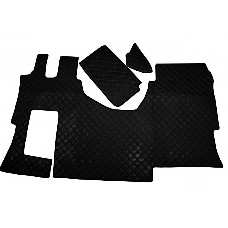 Fußmatten + Tunnelabdeckung aus Kunstleder in Schwarz passend für Mercedes Actros MP4 2011 - 2018 Automatik Getriebe Solo Star