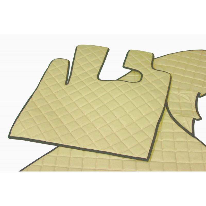 Fußmatten + Tunnelabdeckung aus Kunstleder in Beige passend für DAF 105 XF 2006-2012 Automatik Getriebe