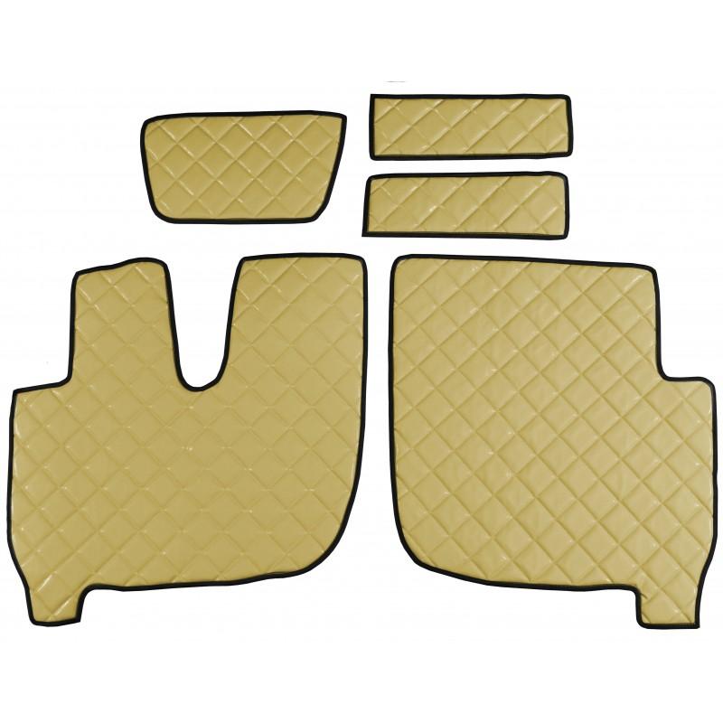 Fußmatten + Tunnelabdeckung aus Kunstleder in Beige passend für Iveco Ecostralis ab 2013 Automatik Getriebe