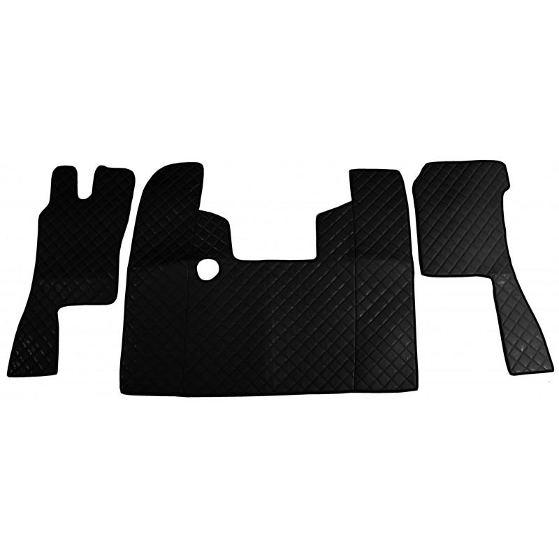 Fußmatten + Tunnelabdeckung aus Kunstleder in Schwarz passend für Scania 124 Automatik Getriebe
