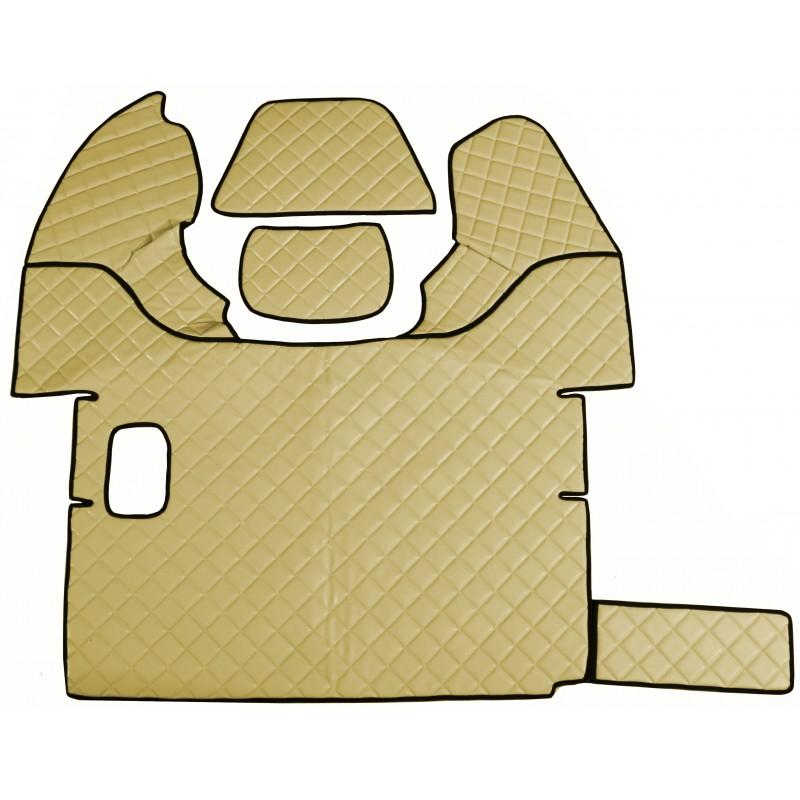 Fußmatten + Tunnelabdeckung aus Kunstleder in Beige passend für DAF 105 XF 2006 -2012 Schaltgetriebe