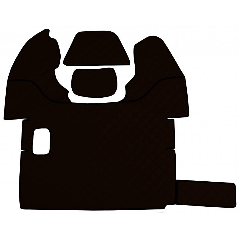 Fußmatten + Tunnelabdeckung aus Kunstleder in Dunkelbraun passend für DAF 105 XF 2006 - 2012 Schaltgetriebe