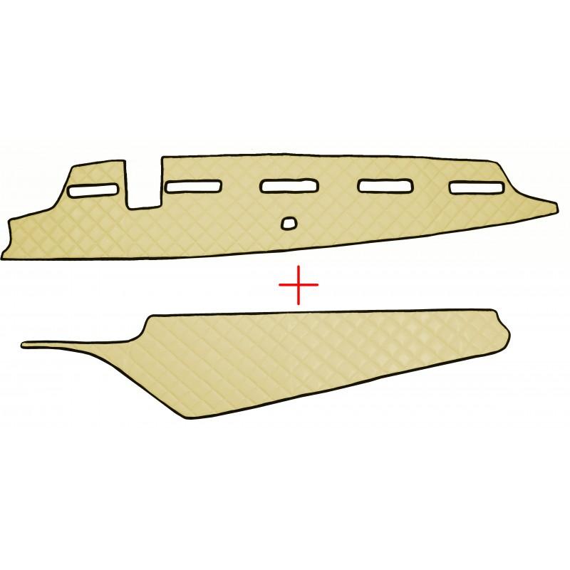 Armaturenbrett Abdeckung und Ablage Abdeckung aus Kunstleder in Beige passend für Volvo FH4 ab 2013 mit Kollisionswarner