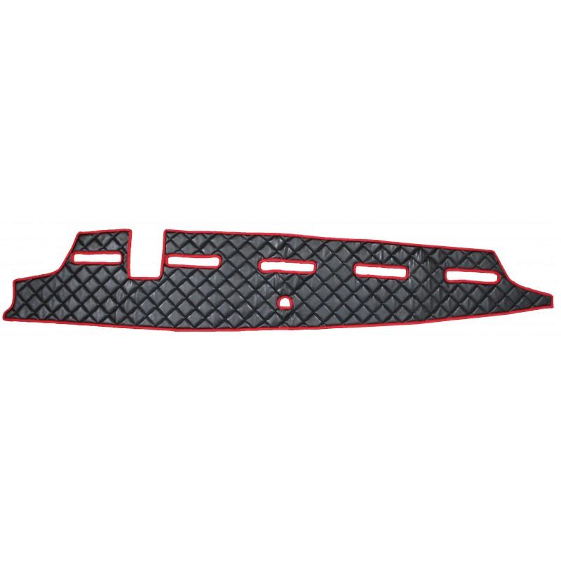 Armaturenbrett Abdeckung aus Kunstleder in Schwarz-Rot passend für Volvo FH4 ab 2013 mit Kollisionswarner
