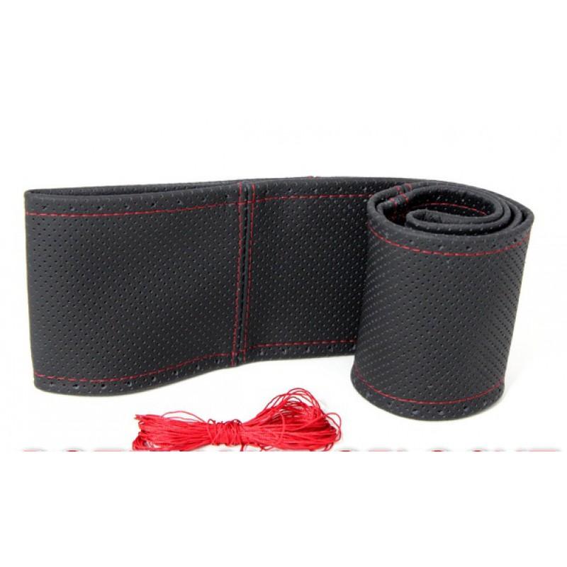 Lenkradschoner aus Echtem Leder zum Schnüren Schwarz Gelocht Rote Naht